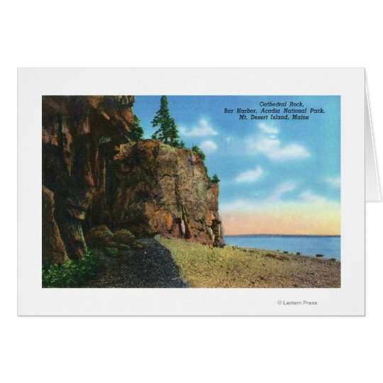 View of Cathedral Rock, Bar Harbor Card