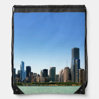 View of Chicago skyline by Lake Michigan Drawstring Backpack