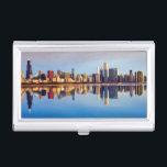 "View of Chicago skyline with reflection Business Card Holder<br><div class=""desc"">Chicagoht skyline</div>"