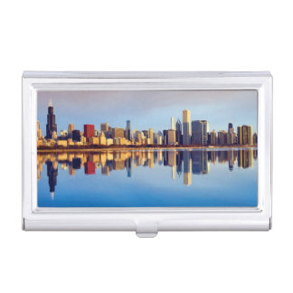 View of Chicago skyline with reflection Business Card Holder