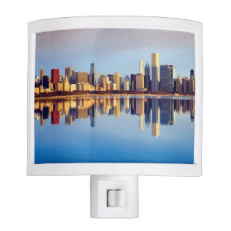 View of Chicago skyline with reflection Night Light