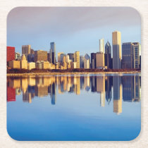 View of Chicago skyline with reflection Square Paper Coaster