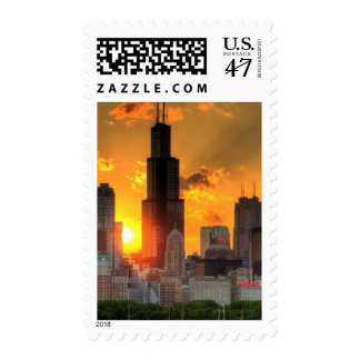 View of Chicago's skyline from  Adler Postage