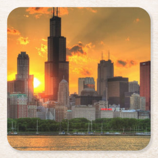 View of Chicago's skyline from  Adler Square Paper Coaster