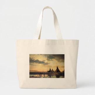 View of Chimney Rock by Albert Bierstadt Large Tote Bag