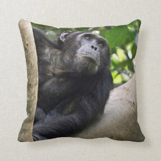 View Of Chimpanzee (Pan Troglodytes) In Tree Throw Pillow
