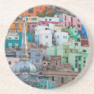 View of city buildings sandstone coaster