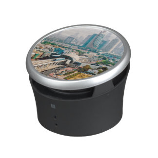 View of city metro line and skyscrapers bluetooth speaker