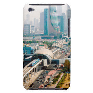 View of city metro line and skyscrapers iPod touch case