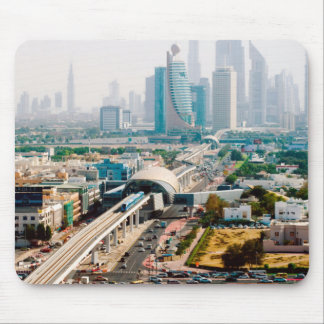 View of city metro line and skyscrapers mouse pad
