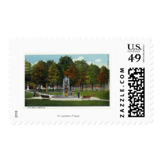View of City Park and Fountain Postage Stamp