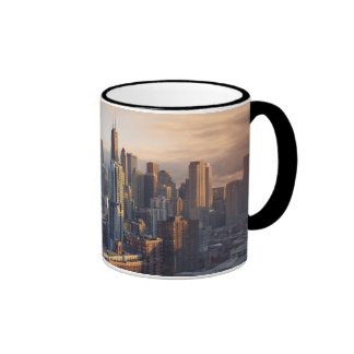 View of cityscape with fantastic light mugs