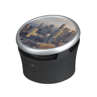 View of cityscape with fantastic light bluetooth speaker