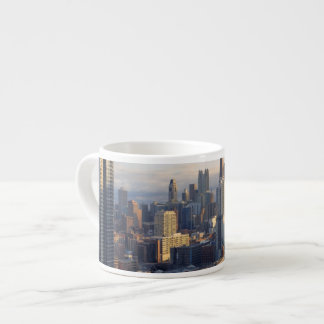 View of cityscape with fantastic light espresso cup