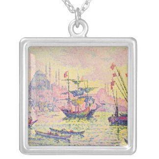 View of Constantinople, 1907 Silver Plated Necklace
