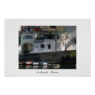 View of Coricella Harbour in Procida Poster