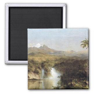 View of Cotopaxi, Ecuador, Frederick Edwin Church 2 Inch Square Magnet