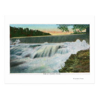 View of Dam at Ausable Chasm Postcard