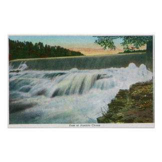 View of Dam at Ausable Chasm Posters