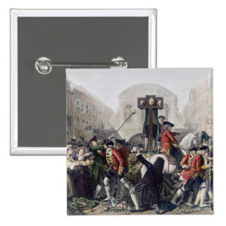 View of Daniel Defoe in the pillory at Temple Bar Pinback Button