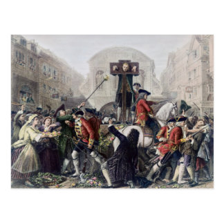 View of Daniel Defoe in the pillory at Temple Bar Post Cards