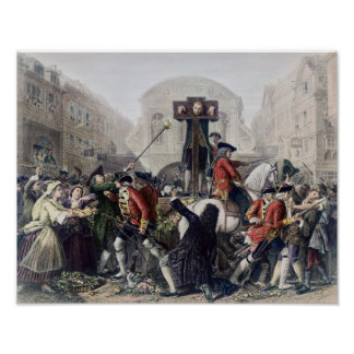 View of Daniel Defoe in the pillory at Temple Bar Poster