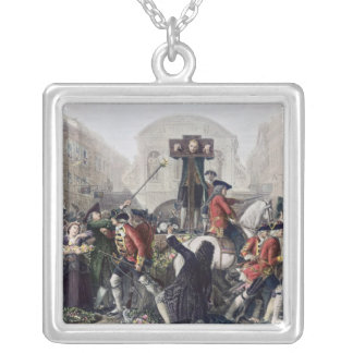 View of Daniel Defoe in the pillory at Temple Bar Silver Plated Necklace