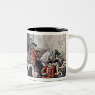 View of Daniel Defoe in the pillory at Temple Bar Two-Tone Coffee Mug