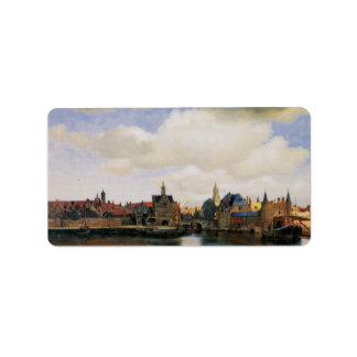 View of Delft by Johannes Vermeer Label