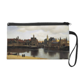View of Delft by Johannes Vermeer Wristlet Purse