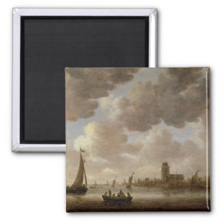 View of Dordrecht Downstream from the Grote Kerk, 2 Inch Square Magnet