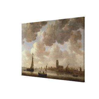 View of Dordrecht Downstream from the Grote Kerk, Canvas Print