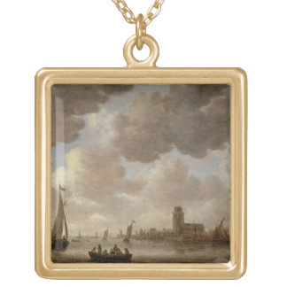 View of Dordrecht Downstream from the Grote Kerk, Square Pendant Necklace