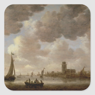 View of Dordrecht Downstream from the Grote Kerk, Square Sticker