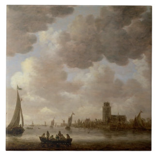 View of Dordrecht Downstream from the Grote Kerk, Tile