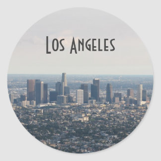 View of Downtown Los Angeles Classic Round Sticker