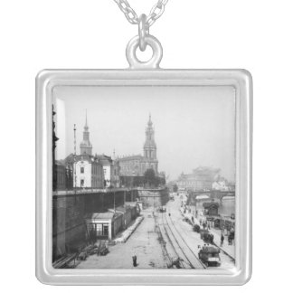 View of Dresden from the Bruehlsche Terrasse Silver Plated Necklace