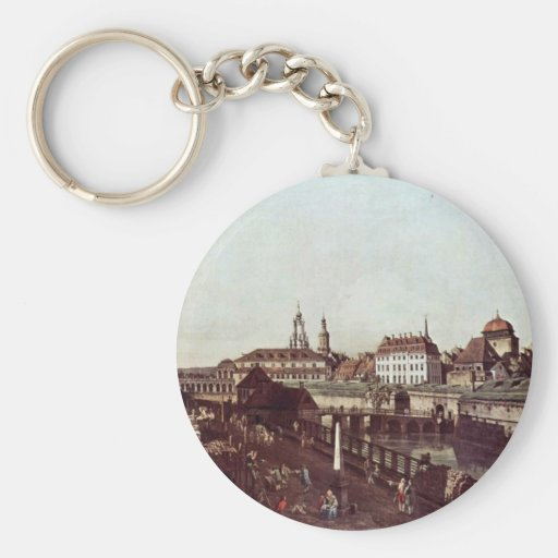 View Of Dresden In Dresden, The Forts Moat Keychain