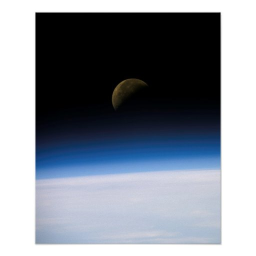 View of Earth and Moon from Columbia (STS-107) Poster