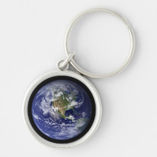 View of Earth from Space (Western Hemisphere) Silver-Colored Round Keychain