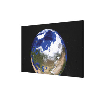 View of Earth showing the Arctic region Canvas Print