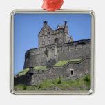 View of Edinburgh Castle, Edinburgh, Scotland, Square Metal Christmas Ornament