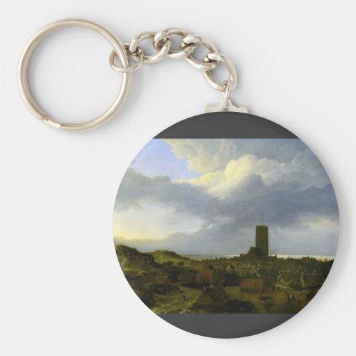 View of egmond by Jacob Ruisdael Basic Round Button Keychain