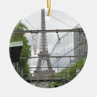 View of Eiffel Tower from Train Station, Paris Ceramic Ornament