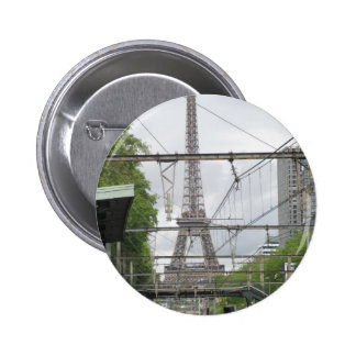 View of Eiffel Tower from Train Station, Paris Pinback Button