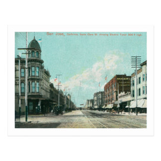 View of Electric Tower from Santa Clara Street Postcard