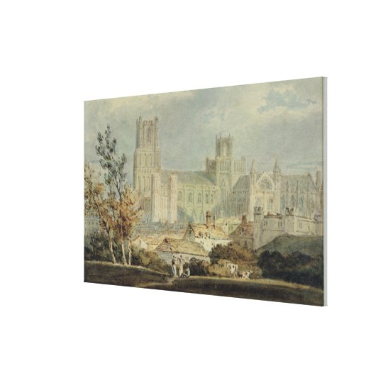 View of Ely Cathedral (pencil & w/c on paper) Canvas Print