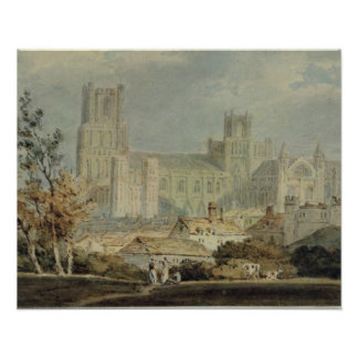 View of Ely Cathedral (pencil & w/c on paper) Poster