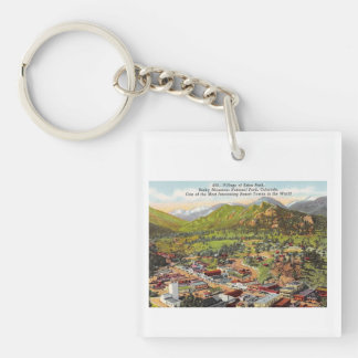 View of Estes Park Colorado Vintage Keychain
