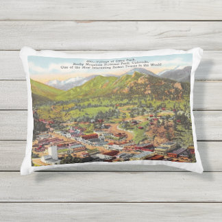 View of Estes Park Colorado Vintage Outdoor Pillow